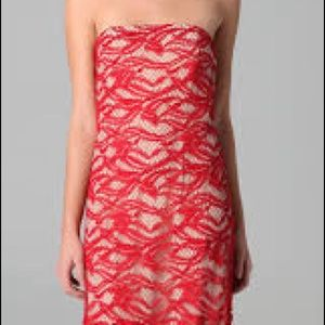 Adam Lippes red lace dress